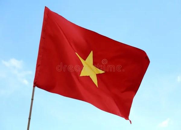 Grand Drapeau Du Vietnam Avec La Grande étoile Jaune à L ...