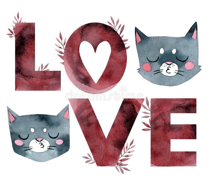 Download Cats-letters stock vector. Illustration of cartoon, black ...