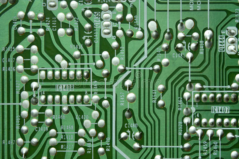 Green Old Circuit Board Royalty Free Stock Images