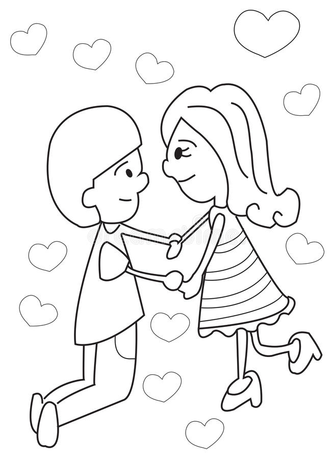 hand drawn coloring page of a boy and girl holding hands