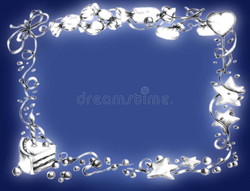 Happy Birthday Frame Blue Royalty Free Stock Images