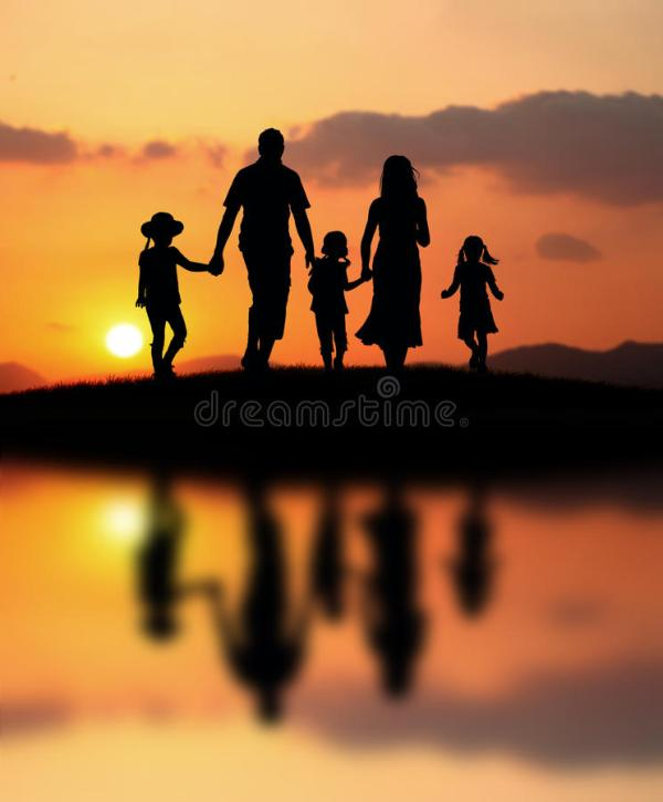 Happy family at sunset stock image. Image of people ...