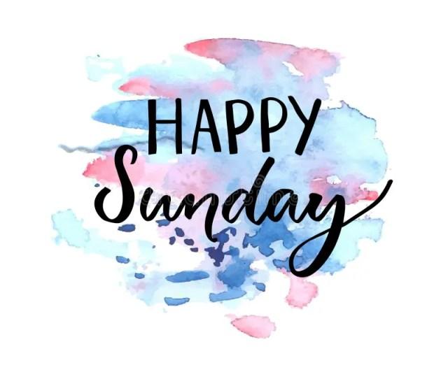 Happy Sunday Inscription Handwritten Text Blue Violet Watercolor