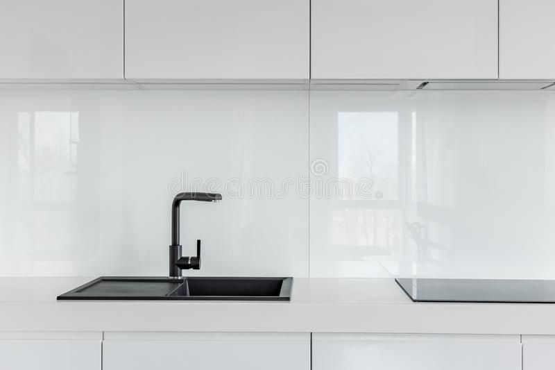 high gloss white kitchen cabinets stock