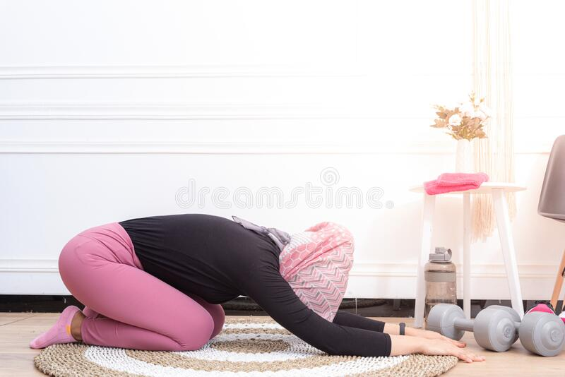 Luckily, you can learn and practice y. Healthy Asian Muslim Woman Stretching While Doing Exercise At Home Stock Photo Image Of Indoor Physical 209731308