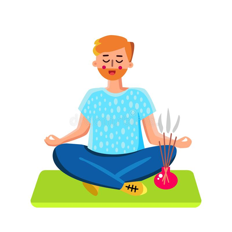 homme et mediter vecteur aromatique brulant d encens illustration de vecteur illustration du mandala arome 182416225