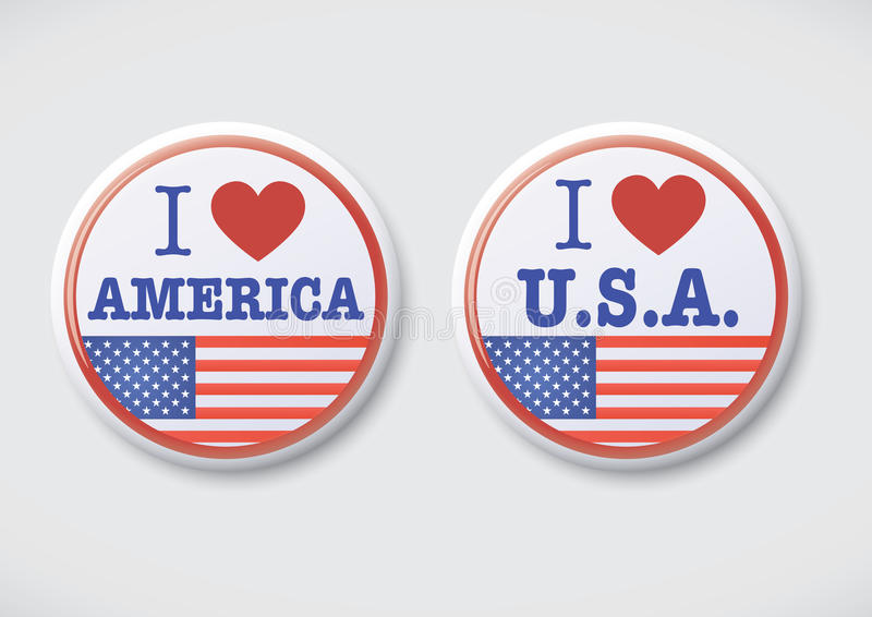 Download I Love America. I Love USA - Vector Button Badge Royalty ...