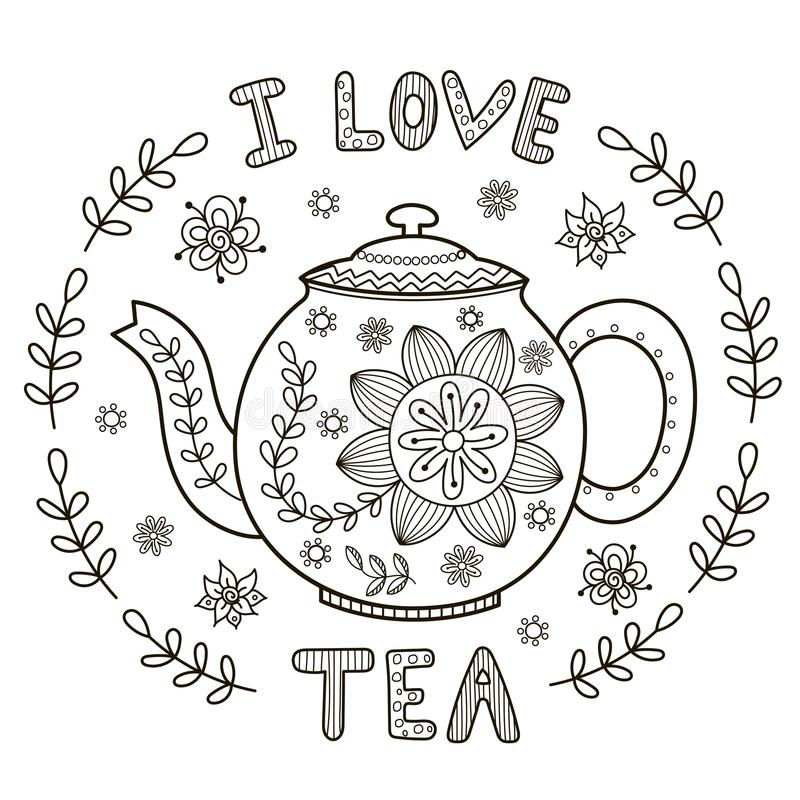 i love tea illustration for coloring book or print stock