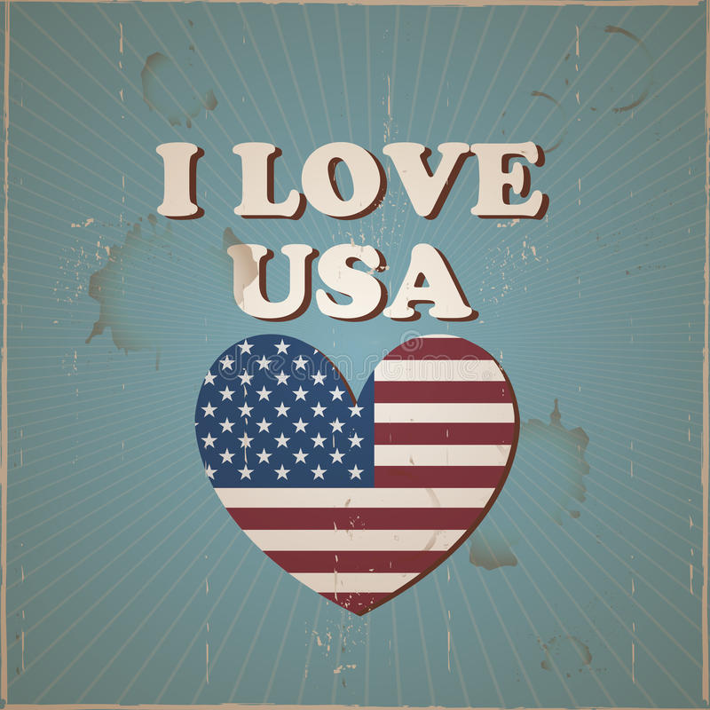Download I Love USA Flag Heart Stock Vector - Image: 55563178
