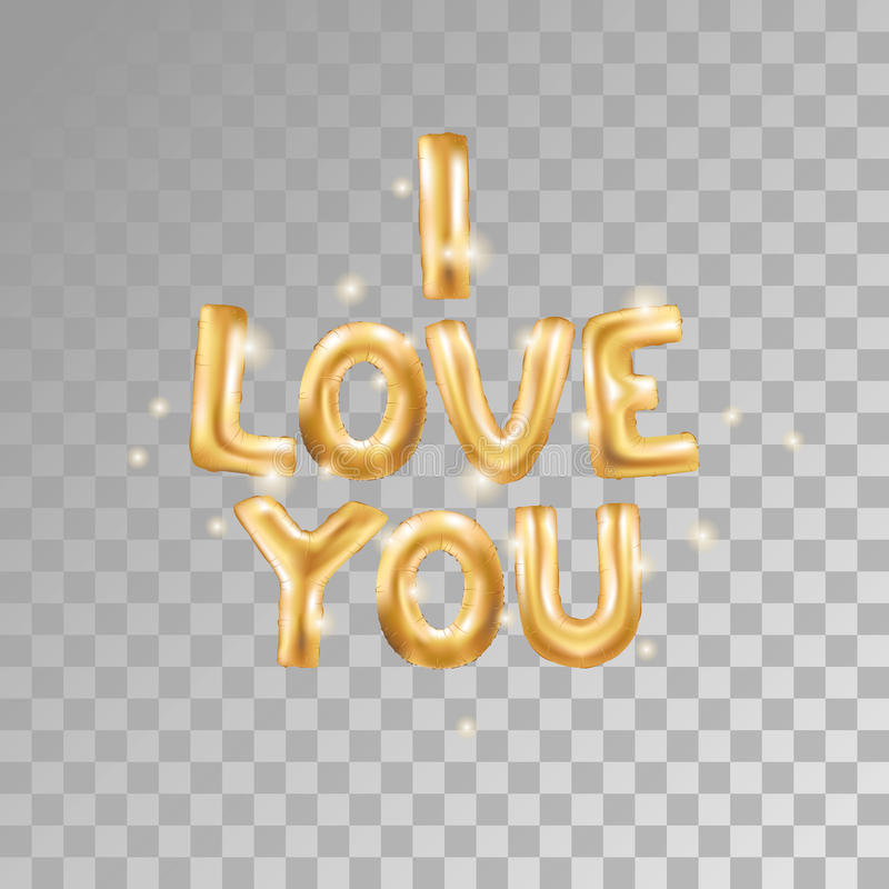 Download I love you gold balloons stock vector. Illustration of ...
