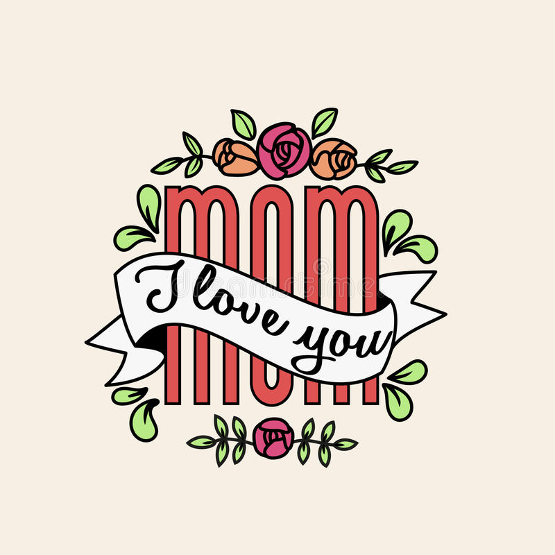 Download I Love You Mom Text With Vintage Ribbon And Flowers Stock ...