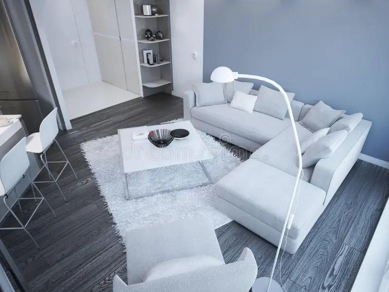 Idea Of Minimalist Living Room Studio Stock Illustration