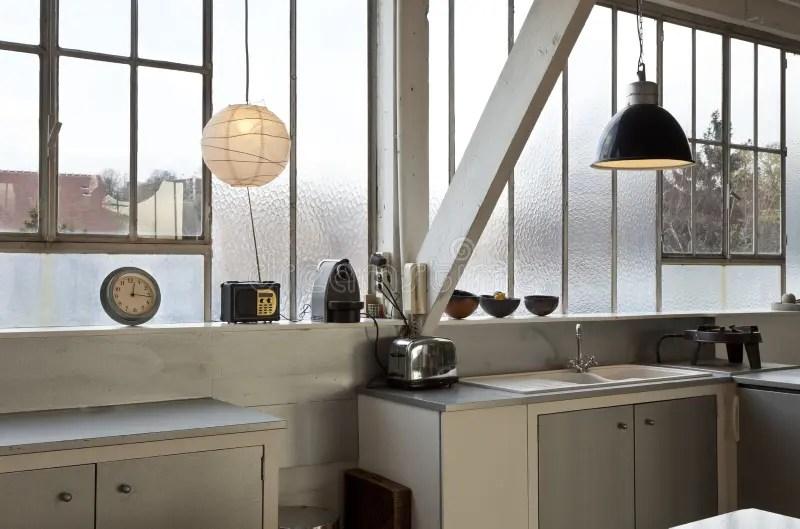 Interior Loft, Kitchen Stock Image. Image Of Lamp