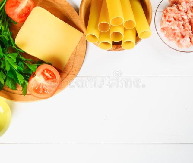 Download Italian Pasta Cannelloni Raw Tube For Stuffing Stuffing Surrounded By Ingredients For Cooking