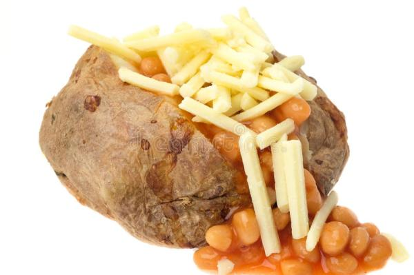 Jacket Potato Filled With Baked Beans And Grated Cheese ...
