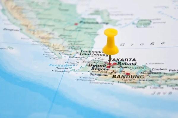 Jakarta on map stock photo. Image of cartography, island ...
