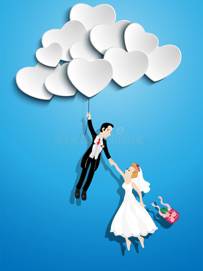 Download Just Married Couple Flying With A Heart Balloon Stock ...