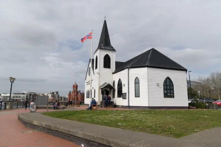 Iglesia Noruega, Bahía De Cardiff Foto de archivo editorial ...
