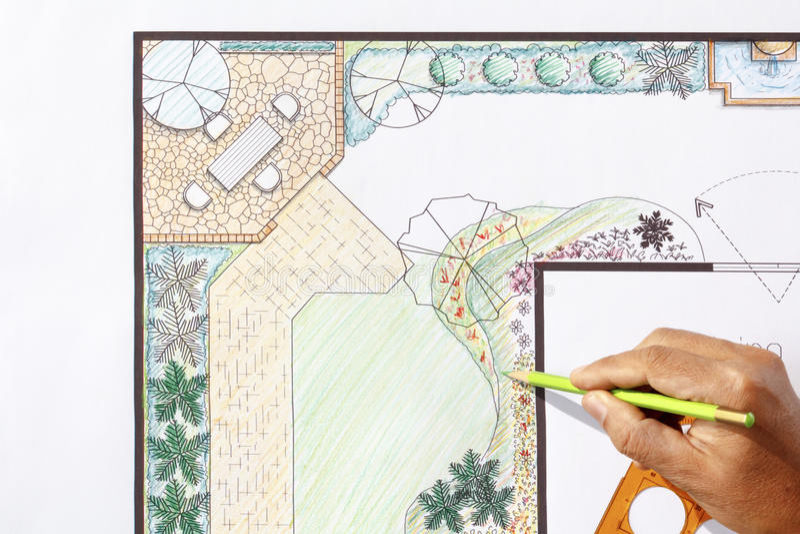 Landscape Architect Design L Shape Garden Plan Stock Photo ... on L Shaped Backyard Layout id=68062