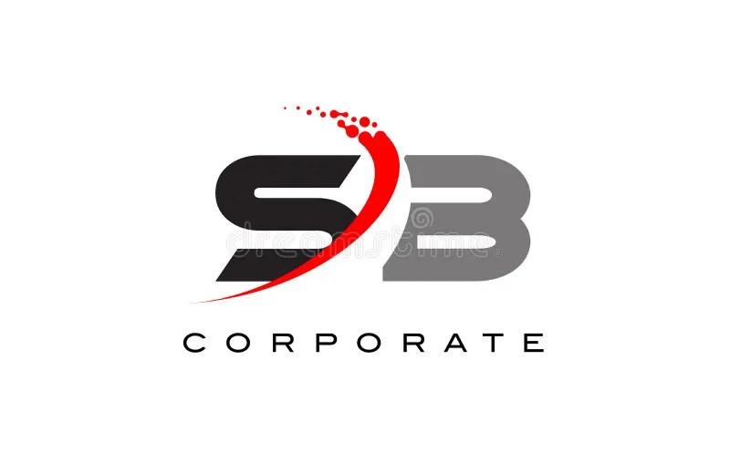 Letra Moderna Logo Design Del SB Con Swoosh Ilustración ...
