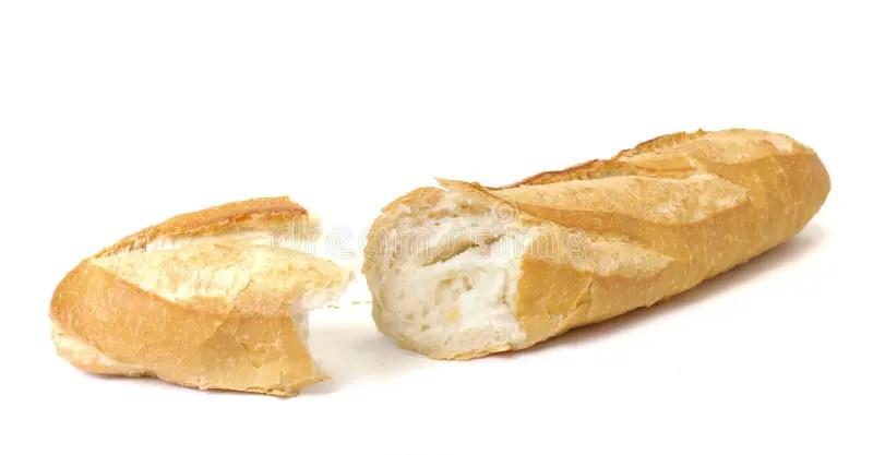 long pain baguette sur le fond blanc