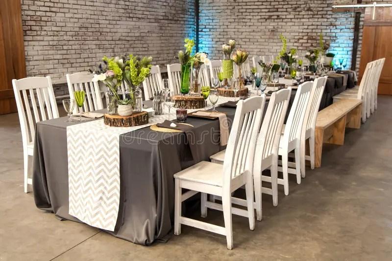 Wedding Centerpiece Table Set For Reception Stock Photo