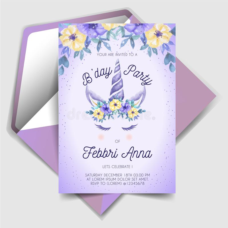 unicorn birthday invitations stock