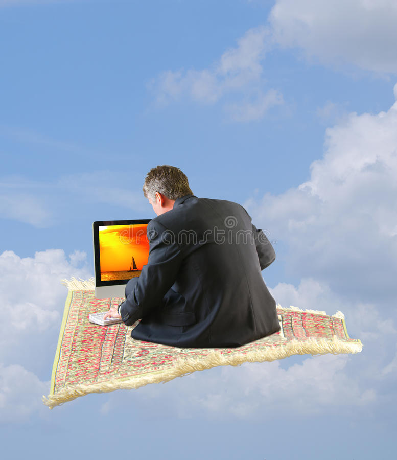 Man Surfng Internet Flying Away On Magic Carpet Stock Image   Image     Download Man Surfng Internet Flying Away On Magic Carpet Stock Image    Image of stress
