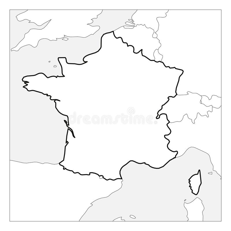 Map Of France Black Thick Outline Highlighted With Neighbor Countries Stock Vector Illustration Of European Isolated 153470599