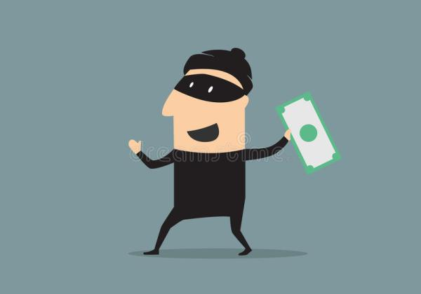 Masked Thief With Money In Cartoon Stock Vector ...