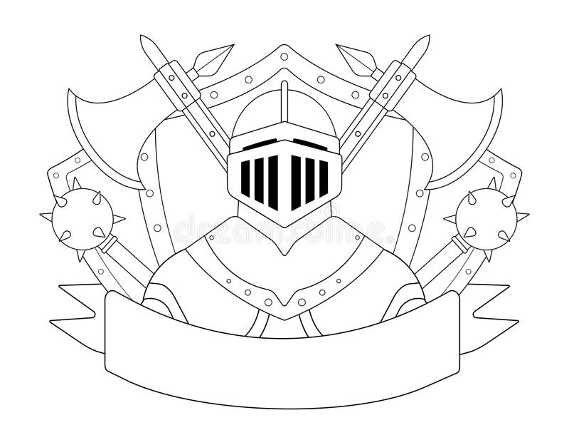 Medieval Templar Knight Armor Set. Contour Stock Vector
