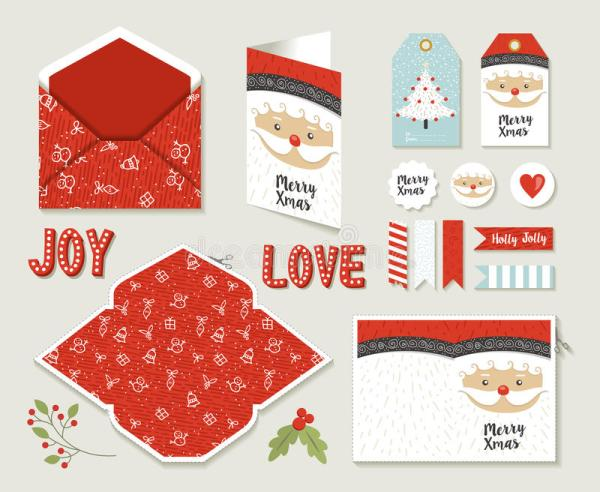 Merry Christmas Set Printable Greeting Card Cute Stock ...