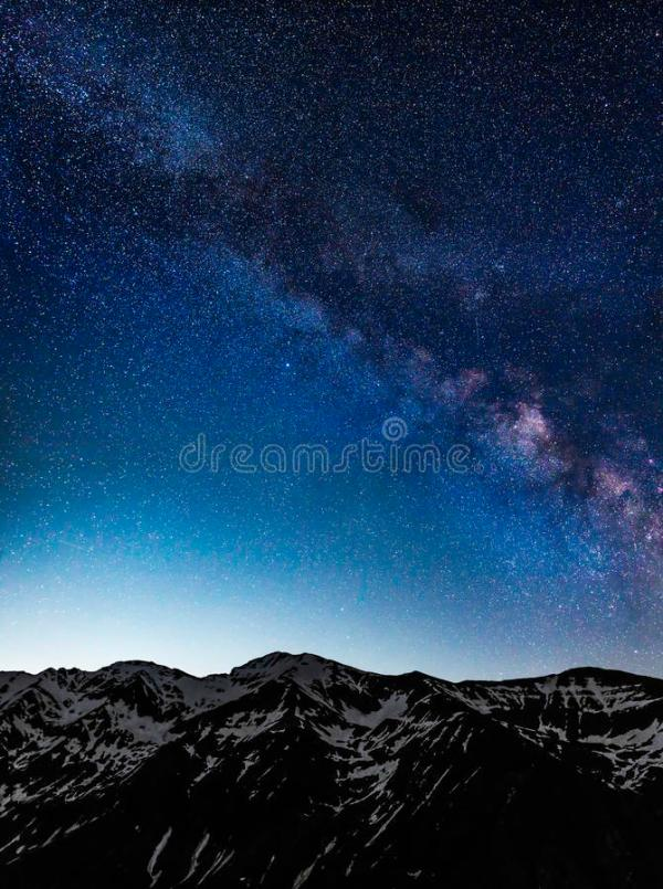 Milky Way Galaxy Over Mountains Stock Photo - Image of ...