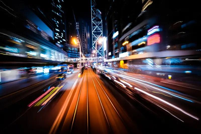 Modern City Motion Blur Hong Kong Abstract Cityscape