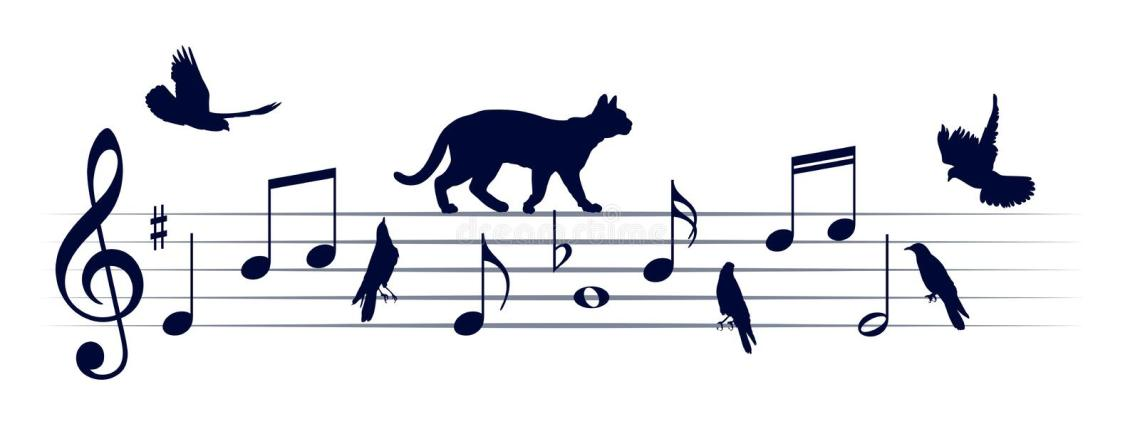 Download Musical Notes With Cats And Birds. Stock Vector ...