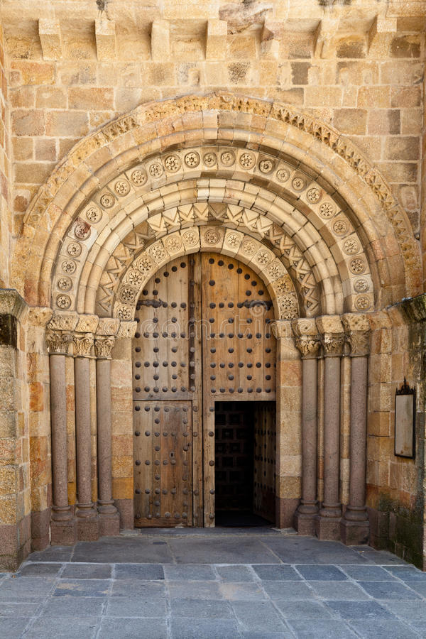 Open Old Church Door With Stone Arches And Columns Stock