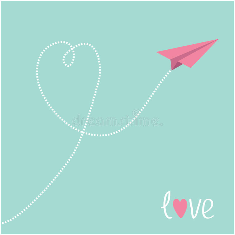 Download Origami Pink Paper Plane. Dash Heart In The Blue Sky. Love ...