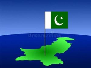 Pakistani flag on map stock vector Image of symbol, huge  2971840