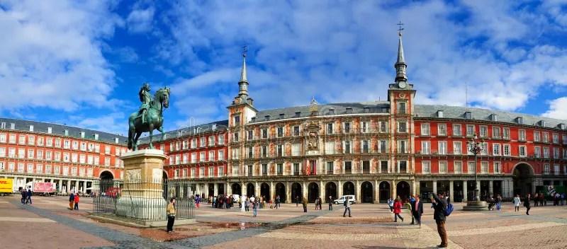 Panorama Of Plaza Mayor Madrid Editorial Photo Image Of
