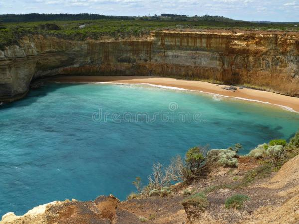 Great Ocean Road, lagoon. stock image. Image of abyss ...