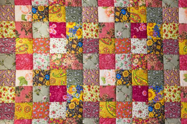 Patchwork quilt stock photo. Image of floral, colorful ...