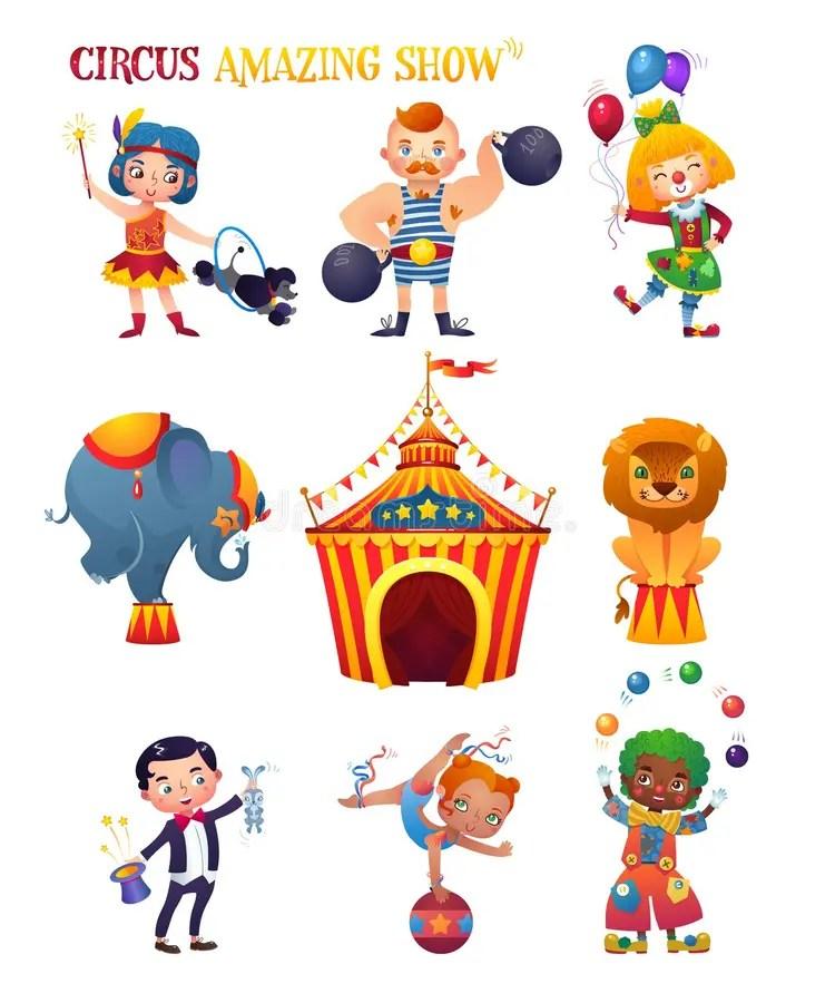 Personajes De Dibujos Animados Del Circo Fijados Clowness