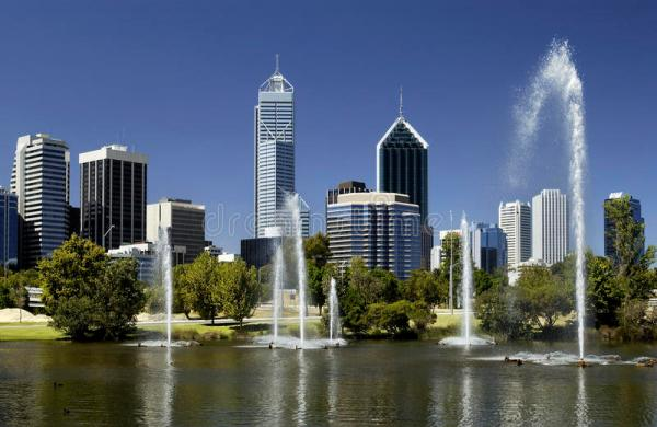 Perth - Australia - Downtown Skyline Stock Image - Image ...