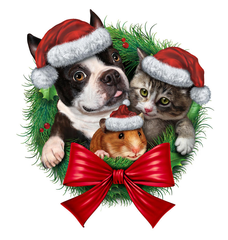 Pets Holiday Wreath Stock Illustration Image Of Care