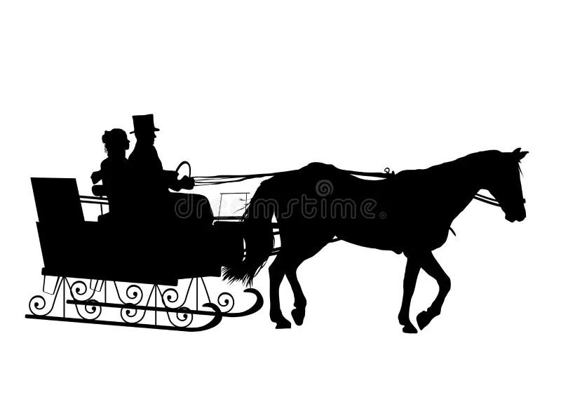 Pferdeschlitten Fahrt Stock Abbildung Illustration Von