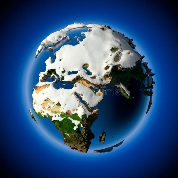 Planet Earth Is Covered By Snow Stock Illustration ...