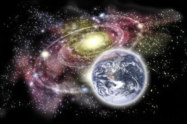 Planet Earth And Galaxy In The Background Stock