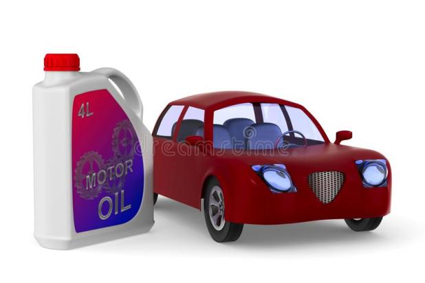 Plastic Canister Motor Oil And Car On White Background Isolated Stock Ilration