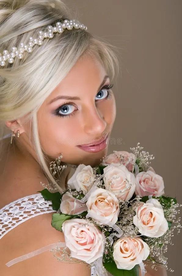 Portrait Of Beautiful Blonde Bride Stock Image Image