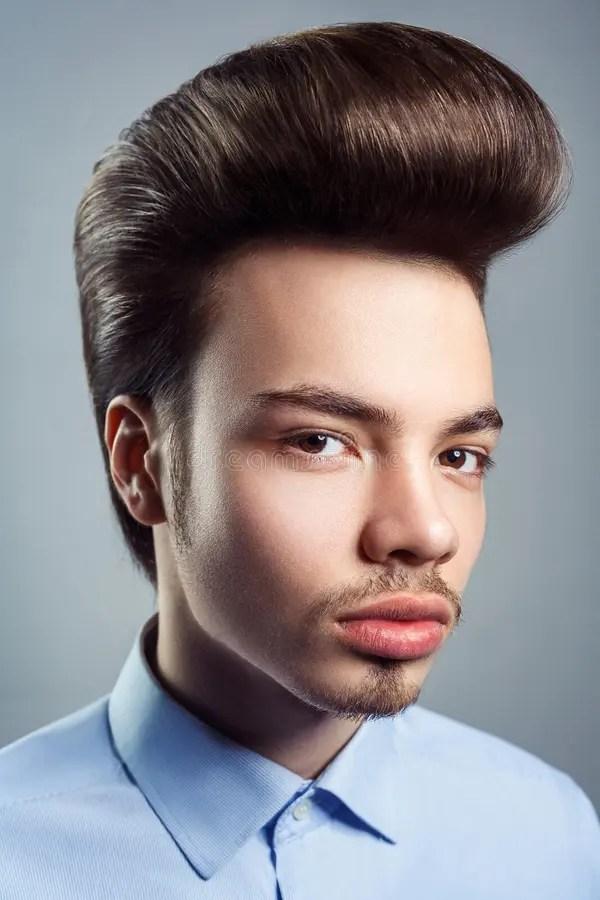 Portrait Of Young Man With Retro Classic Pompadour
